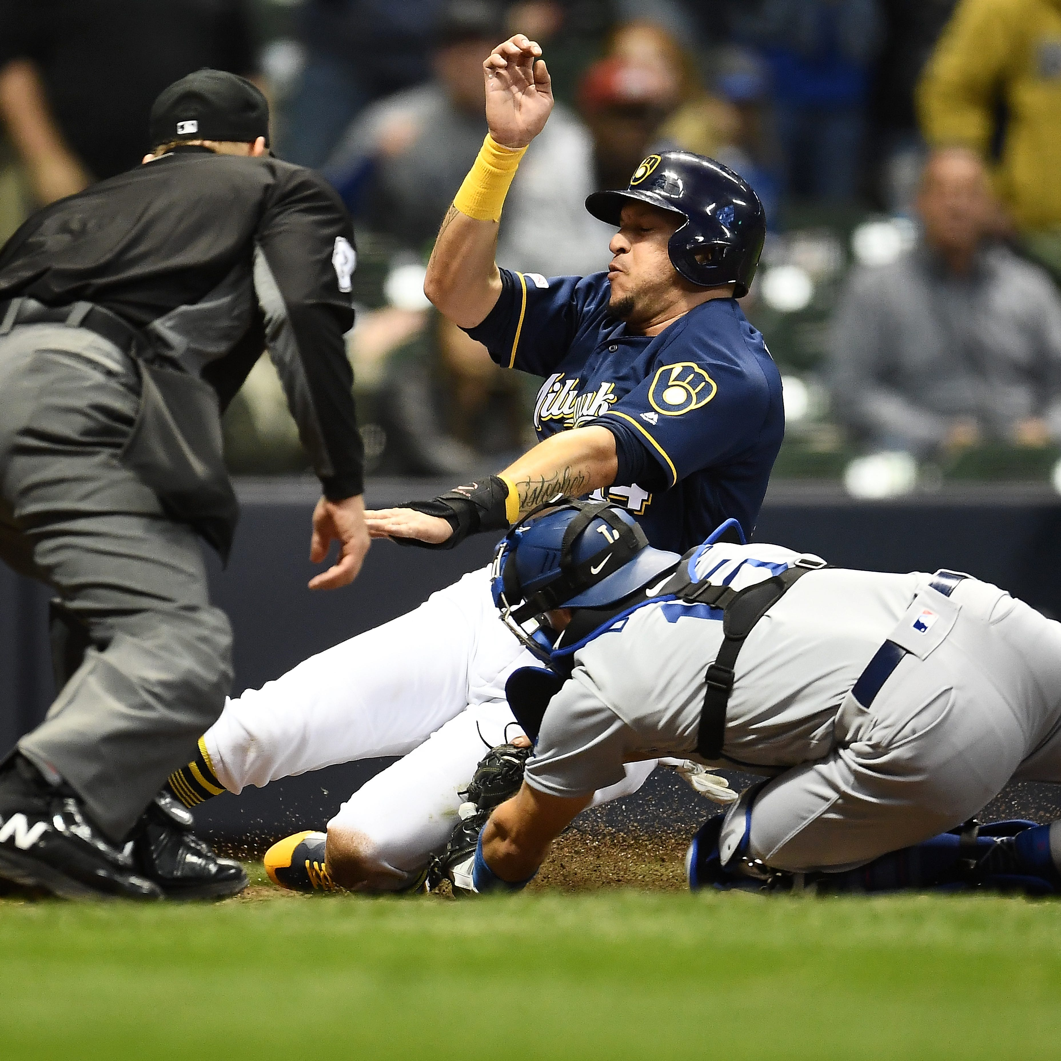 On a night when the offense struggled, Brewers needed to get Christian Yelich to plate in 8th
