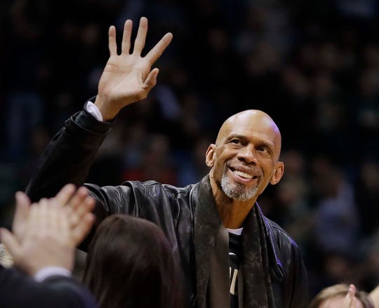 NBA Hall of Famer and all-time Milwaukee Bucks great Kareem Abdul-Jabbar greets fans at Fiserv Forum in Milwaukee.