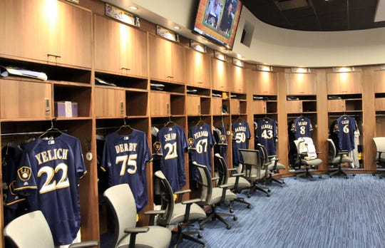 A look at the Milwaukee Brewers new clubhouse, following a ribbon-cutting ceremony, naming the spring training facility as American Family Fields.