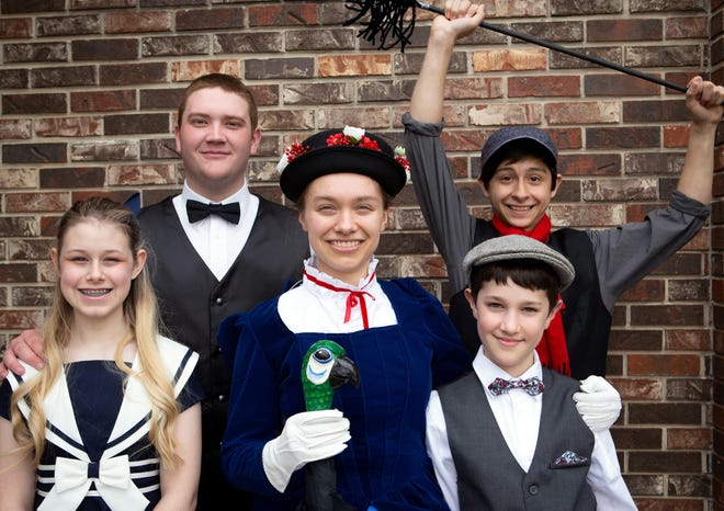 Headlining the cast of Mary Poppins Jr. are: (first row, from left) Cadence Webster, Heather Grade Spencer, Caleb Norvell, (second row) Jason Sturrock and Joe Gray.
