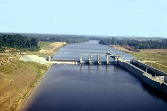 Elevated water levels on the Ouachita River have delayed the U.S. Army Corps of Engineers (USACE) Vicksburg District's emergency repair work at Columbia Lock and Dam, located approximately seven miles upstream of Columbia, Louisiana.