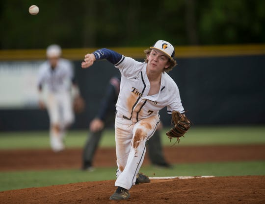 St. James' Carson Howard (7) pitches at St. James School in Montgomery, Ala., on Friday, April 19, 2019. St. James defeated Randolph County 7-0 in the first game of a doubleheader.