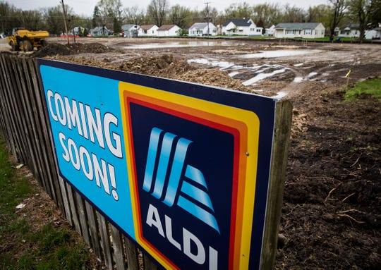 A lot adjacent to ALDI on McGalliard Road where the grocery store chain is planning an expansion.