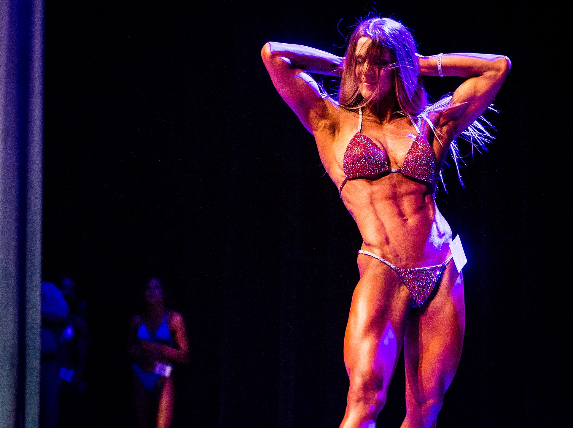 Ball State exercise science major Olivia Mason competes in the 2019 Mr. And Ms. Ball State bodybuilding competition. Mason, who has been lifting weights for just over a year, was awarded Ms. Ball State.