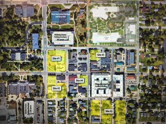 Ball State has identified five potential development sites in The Village. The student center is shown at the bottom left.