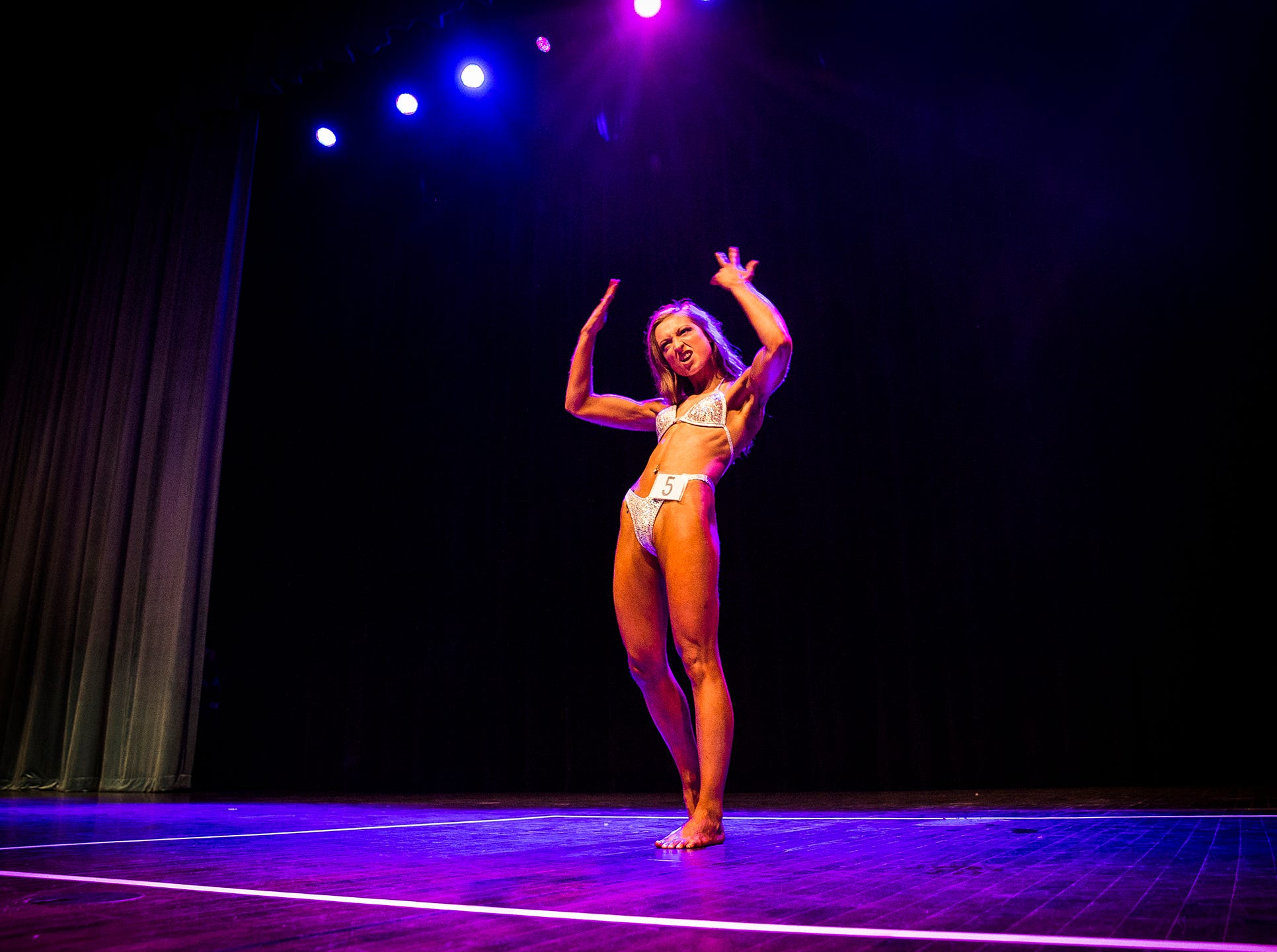 Sixteen amateur bodybuilders, nine women and seven men, competed in the 2019 Mr. And Ms. Ball State bodybuilding competition at Emens Auditorium Thursday night. Returning champion Mike Breitung and newcomer Olivia Mason were awarded this year's titles.