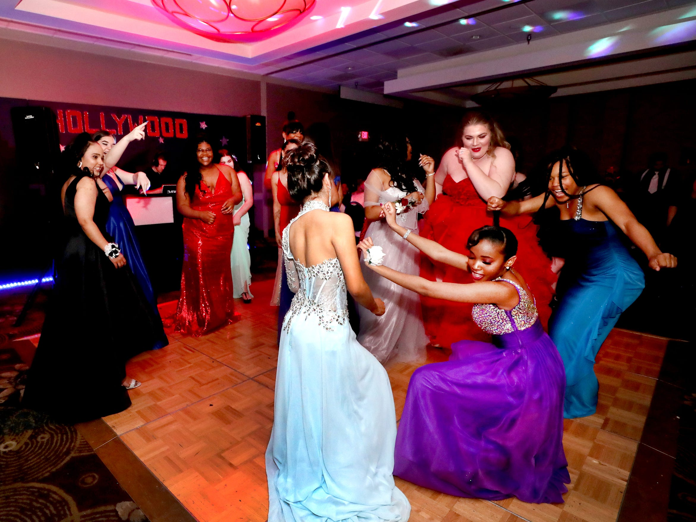 Students dance at Holloway's prom at the DoubleTree on Thursday April 18, 2019.