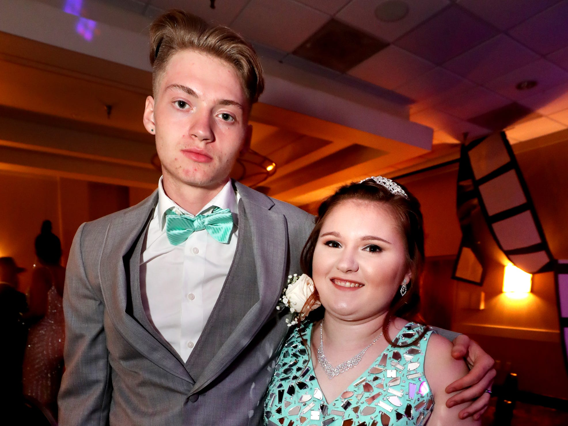 Toby Bramlett, left and Leah Herrod, right at Holloway's prom at the DoubleTree on Thursday April 18, 2019.