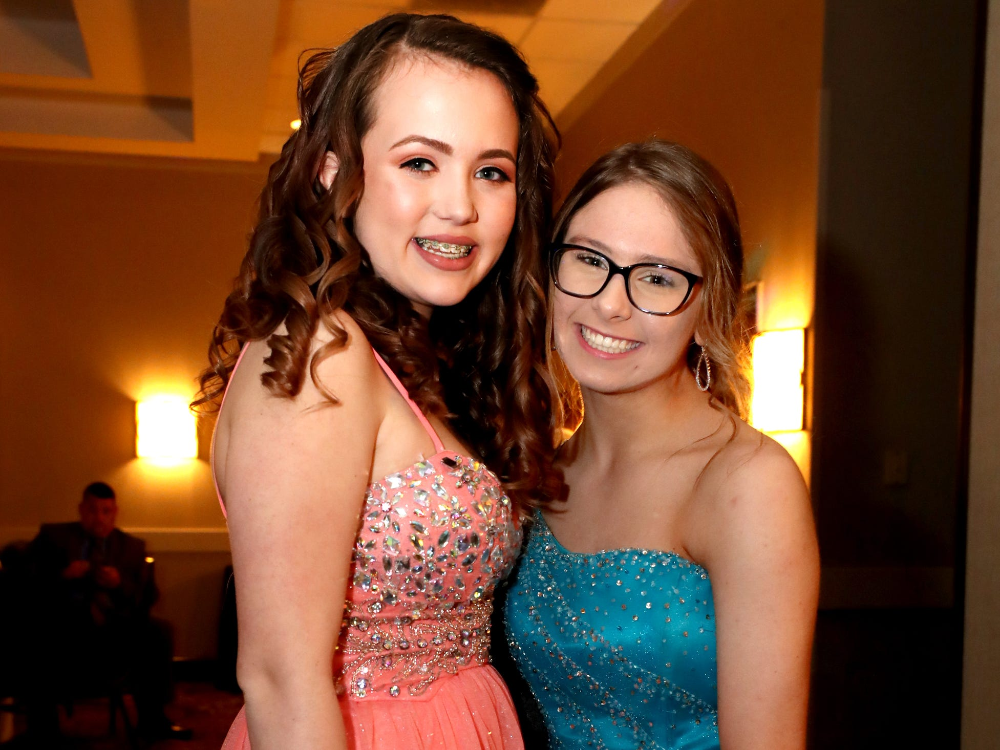 Abby Carr, left and Erin Carlson, right at Holloway's prom at the DoubleTree on Thursday April 18, 2019.