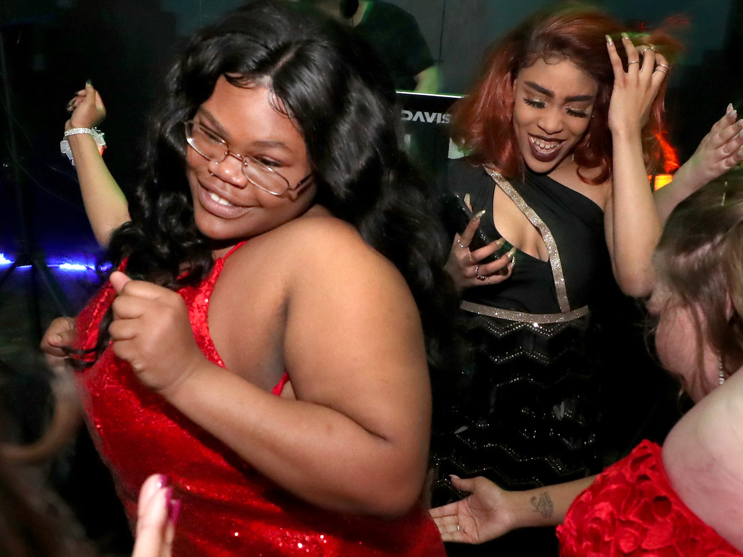 Jakeyia Alexander dances on the dance floor at Holloway's prom at the DoubleTree on Thursday April 18, 2019.