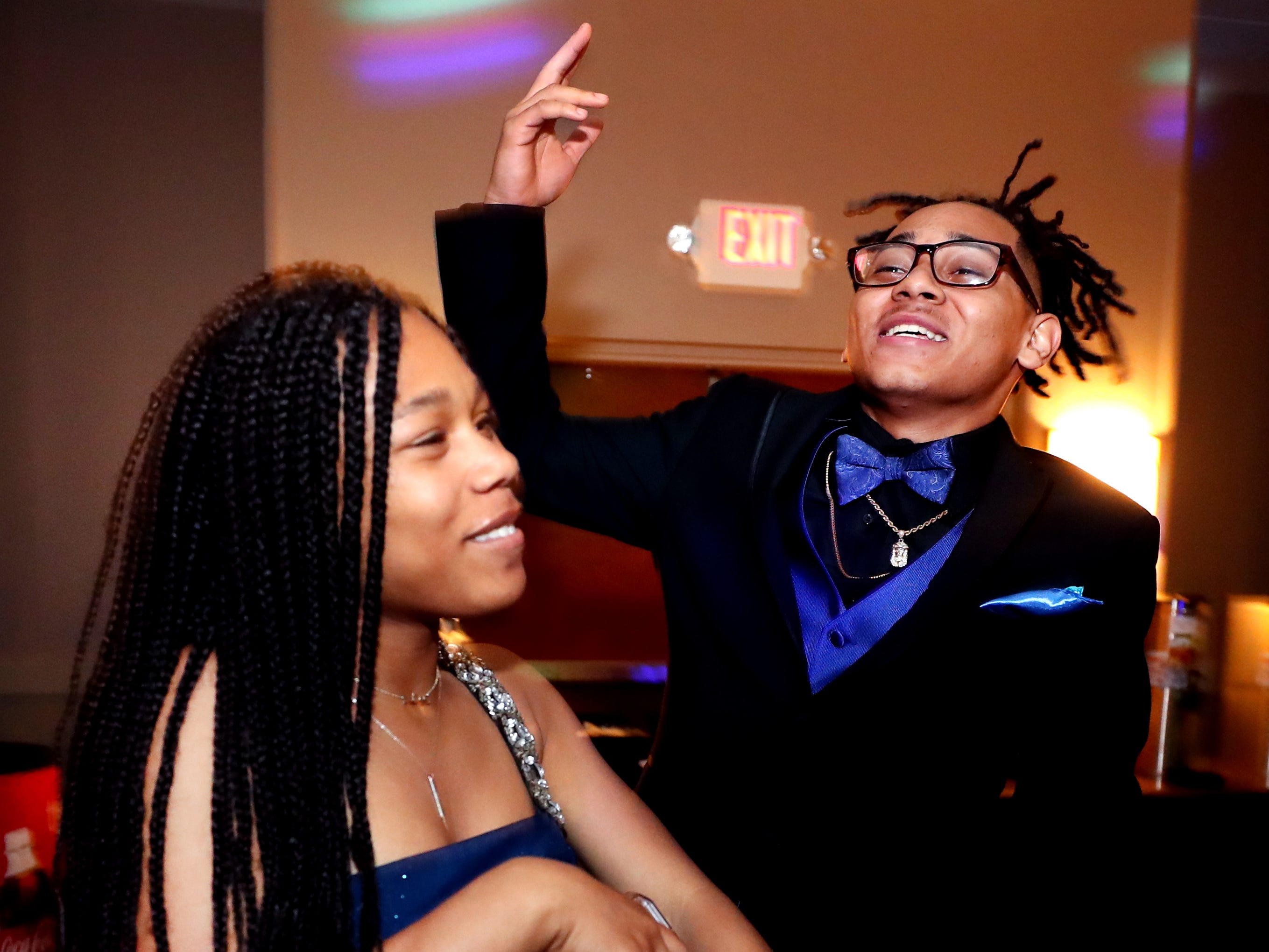 Yaqueenisha Murray, left and Jamarion Buchanan, right dancing at Holloway's prom at the DoubleTree on Thursday April 18, 2019.