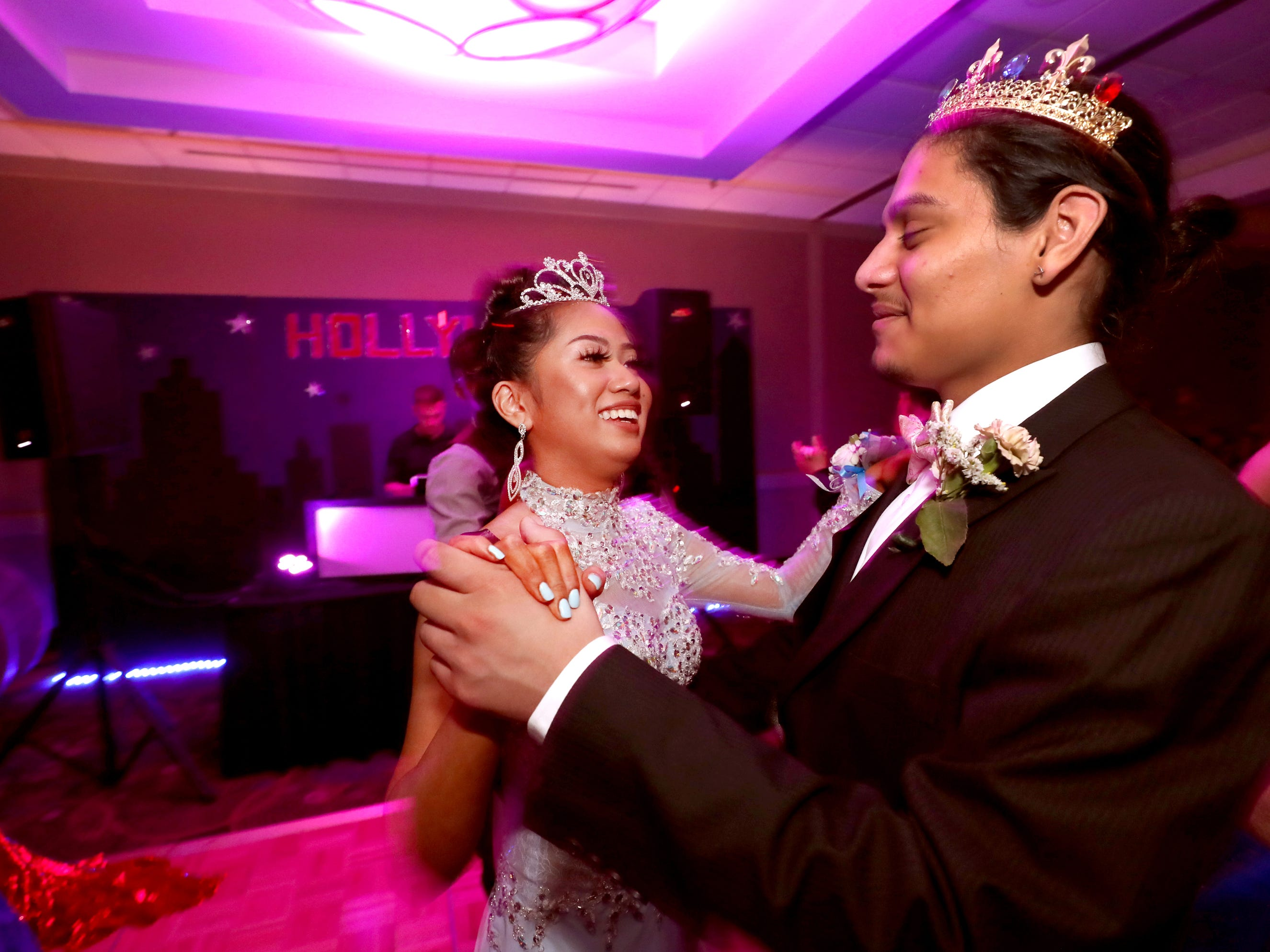 Prom Queen Anna Kounboribounsak and Prom King Diego Valencia during Holloway's prom at the DoubleTree on Thursday April 18, 2019.