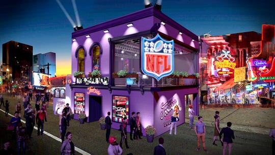 A rendering of the building outside of Tootsie's on Broadway that was built for NFL Network's coverage of the 2019 NFL Draft.