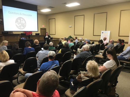 Residents gathered for a town hall meeting in Mt. Juliet on Thursday, April 18, to discuss a city property tax rate hike.