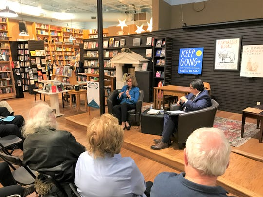 """Author Susan Page discusses her biography of Barbara Bush, """"Matriarch,"""" at Parnassus Books in Nashville on Thursday."""