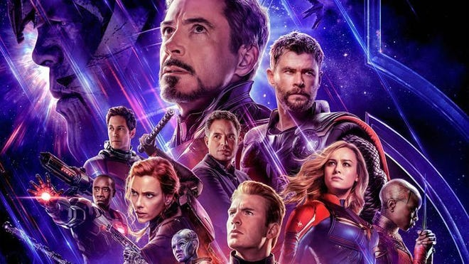 "A poster featuring superheroes from Marvel's ""Avengers: Endgame."""
