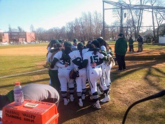 Passaic Valley softball team getting fired up before its season opener.