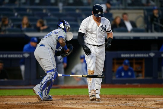 Apr 18, 2019; Bronx, NY, USA;  New York Yankees first baseman Luke Voit (45) reacts after striking out against the Kansas City Royals in the third inning at Yankee Stadium.
