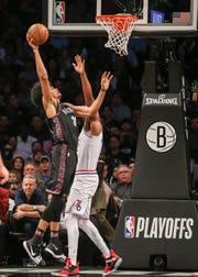 Brooklyn Nets center Jarrett Allen (31) shoots against the Philadelphia 76ers during the first quarter in game three of the first round of the 2019 NBA Playoffs at Barclays Center April 18.
