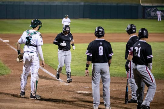 New Mexico State's Tristan Carranza scores, part of the Aggies' 14-0 win over Utah Valley on Thursday, April 18, 2019, in Orem, Utah.