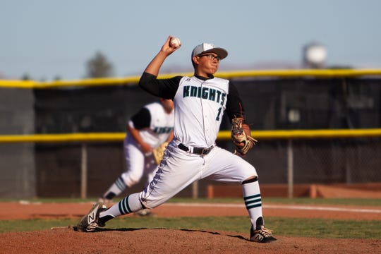 Oñate pitcher Luis Valenzuela fires the ball home against Las Cruces High on Thursday at the Field of Dreams Baseball Complex.