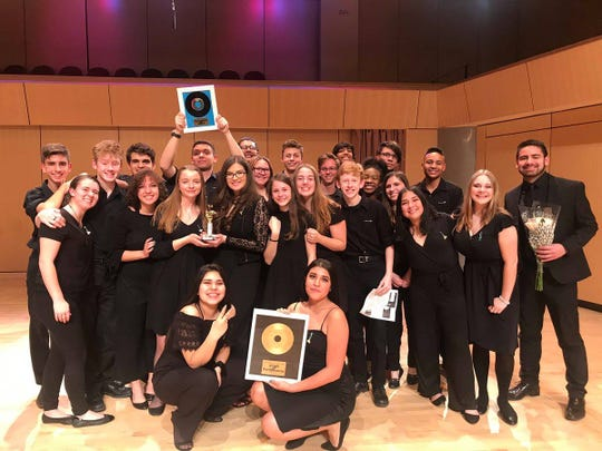 The Oñate High School Choir after winning first place at the Best of New Mexico A Cappella Festival at Rio Rancho High School.