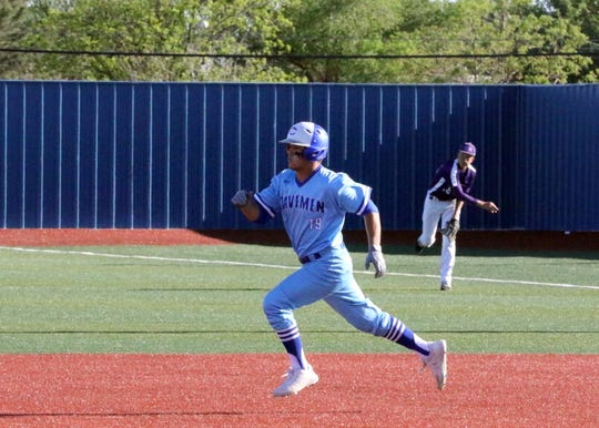Carlsbad's Rio Granger heads to second base during Game 1 of Thursday's doubleheader against Clovis. Carlsbad won Game 1, 15-5 and Game 2, 9-0.