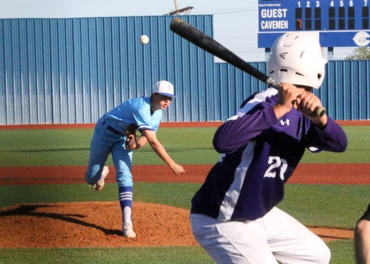 Carlsbad's Robert Nidy pitches during the second inning of Game 1 of Thursday's doubleheader against Clovis. Carlsbad won Game 1, 15-5 and Game 2, 9-0.