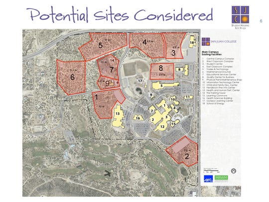 A slide from a presentation Ed DesPlas, San Juan College's executive vice president, gave to the college Board of Trustees show possible alternative sites for the $25 million student housing complex. The site labeled One is the new location for the project.