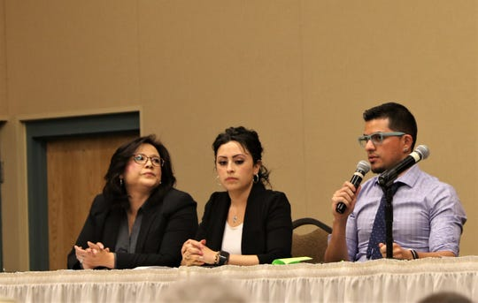 From left, Sara Holiday, Arely Caro and Adriel Orozco participate in a forum discussion about immigration Thursday at Farmington Civic Center.