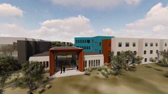 A rendering of the proposed exterior of the in-development San Juan College housing on its main campus in Farmington. College officials are hoping for an August 2021 opening date. The design is expected to remain the same after moving it to a new location on campus.