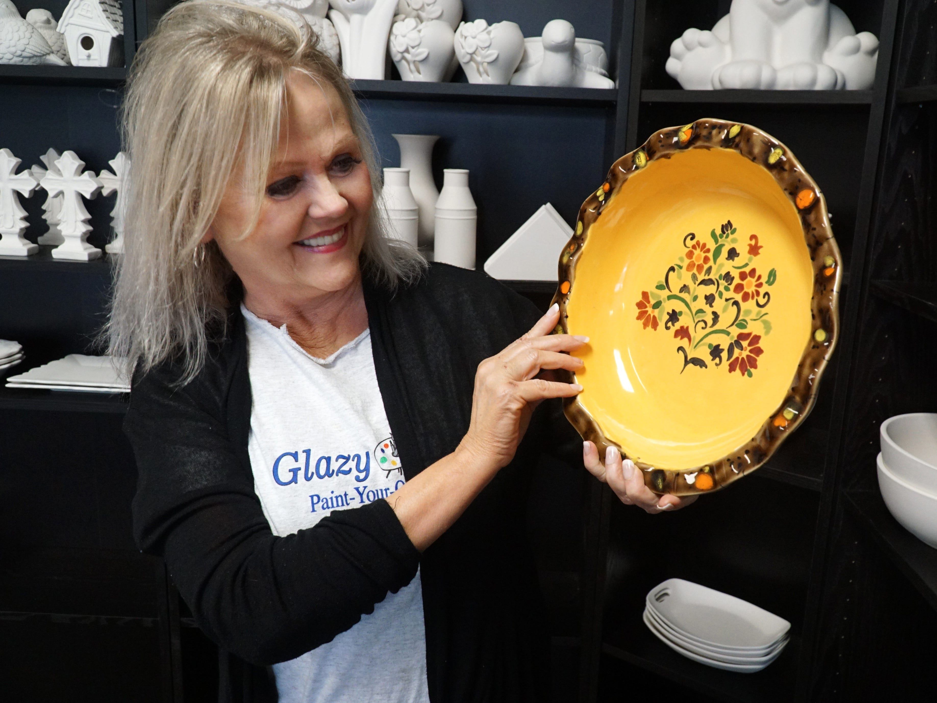 Jill French, owner of South Lyon's Glazy Days, created this colorful bowl at her shop.