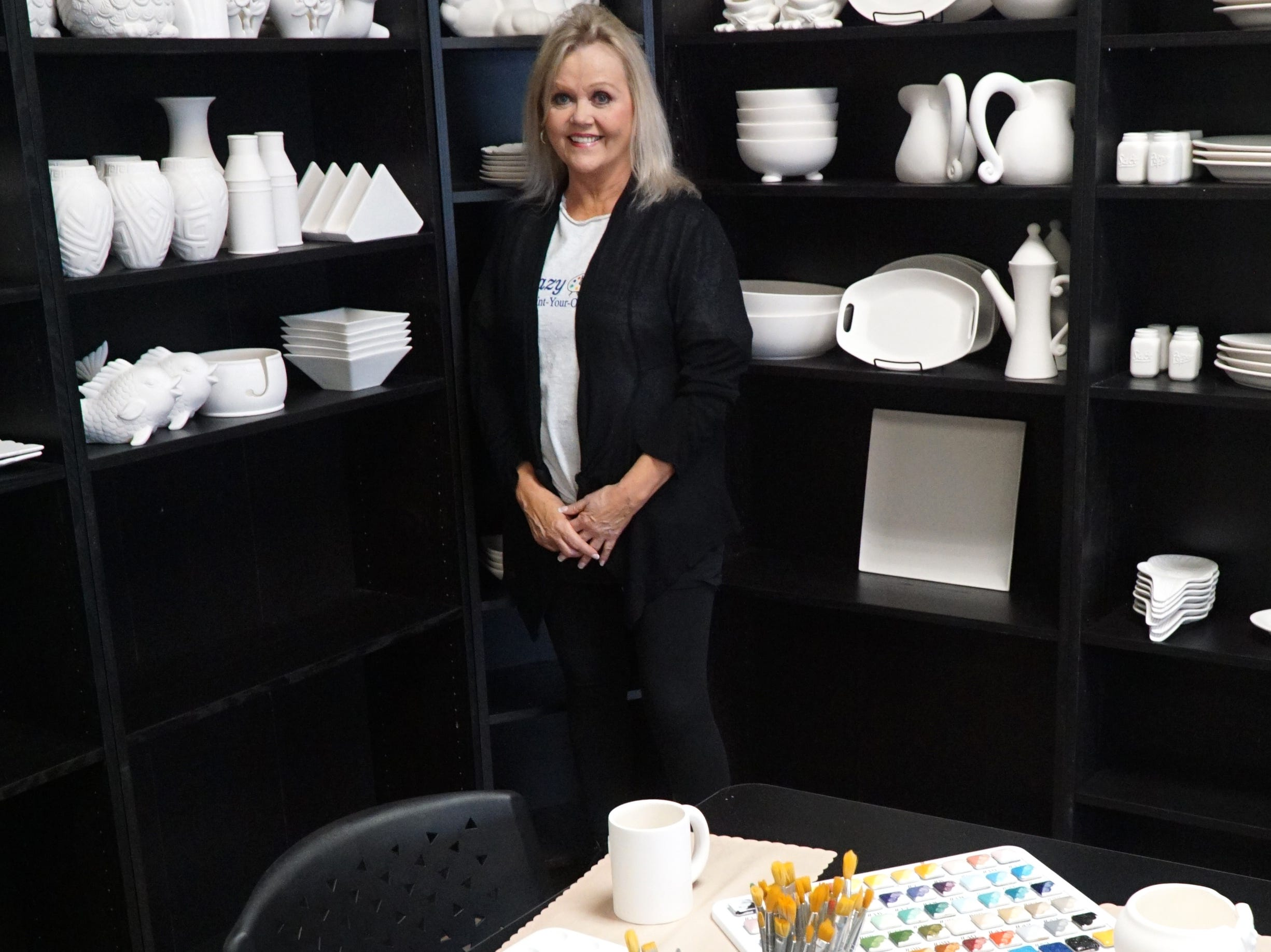 Jill French moved her Glazy Days pottery business to 22896 Pontiac Trail so that she and her guests have more room to stretch out as they paint their ceramic wares.
