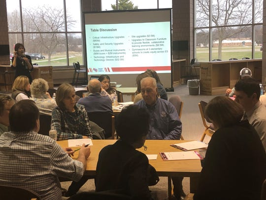 Huron Valley School District residents discuss a no-tax increase $185M bond proposal for school improvements during a forum at Milford High School on April 16, 2019.