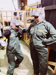 """Desert Sun editors Kristin Scharkey (left) and Kate Franco (right) suited up to perform inside Dedo Vabo's """"H.i.P.O"""" installation at the Coachella Valley Music and Arts Festival in Indio, Calif., April 12, 2019."""