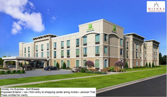 A rendering shows a Holiday Inn Express hotel that is proposed for a 2-acre parcel of land that backs up to Andrew Jackson Road in Gulf Breeze.