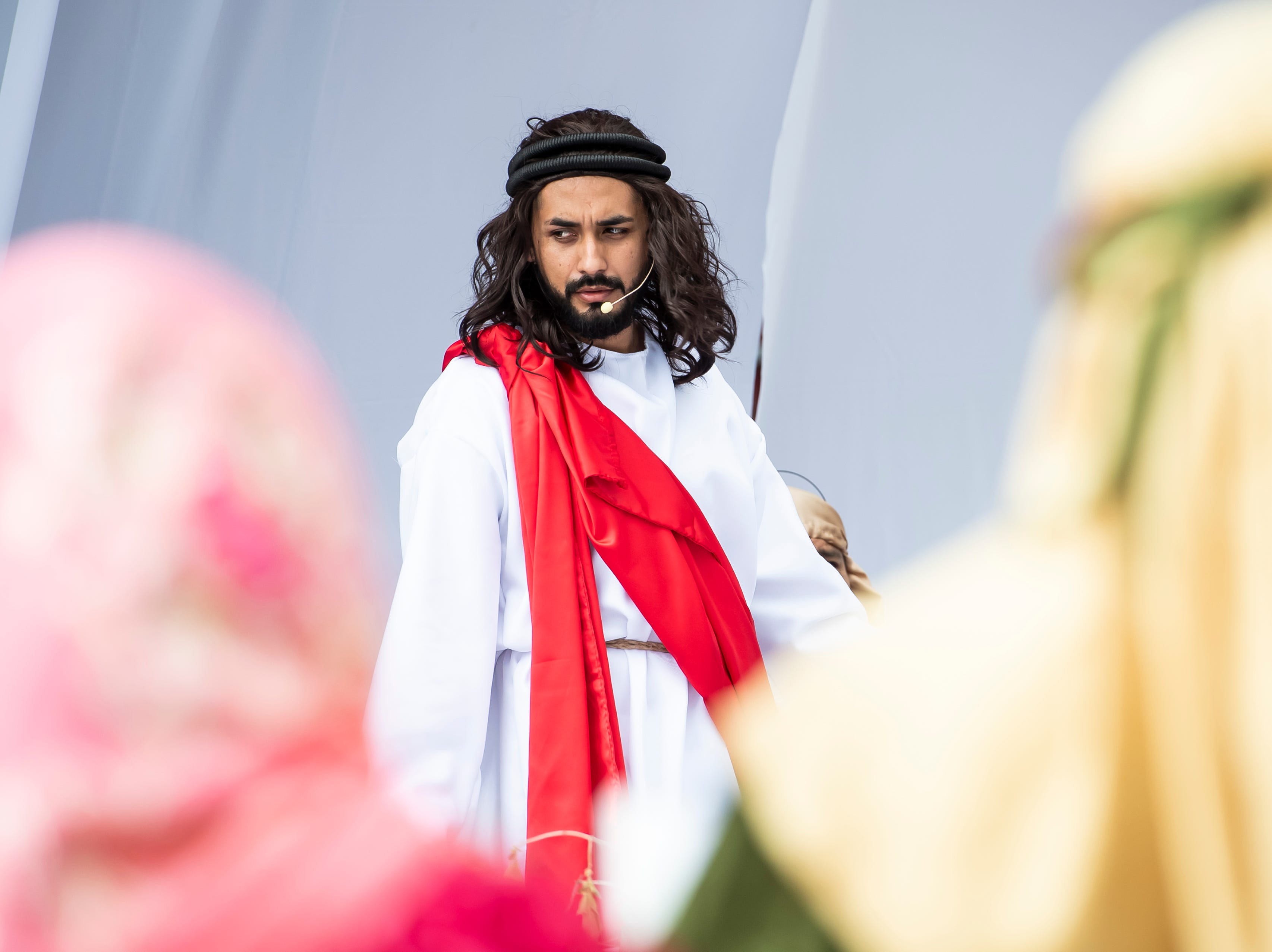 Jose Negret, portraying Jesus, takes part in in a Good Friday procession at St. Joseph Catholic Church in Hanover on Friday, April 19, 2019.