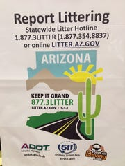 One of the litter bags that Arizona Department of Transportation sends to litterers. People can report their fellow drivers on the department's website if they witness them littering.