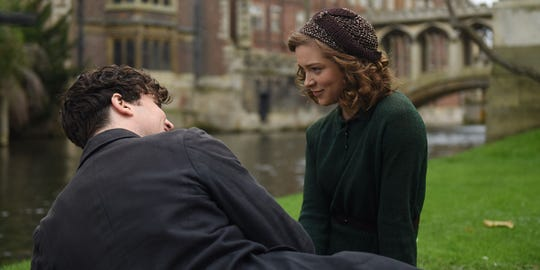 "Joan Stanley (Sophie Cookson) falls in love with a captivating and mysterious man named Leo (Tom Hughes) in ""Red Joan."""