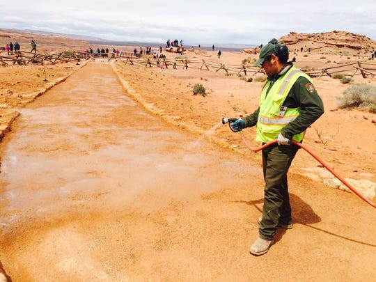 Work continues on an ADA-compatible path at Horseshoe Bend in the Glen Canyon National Recreation Area.