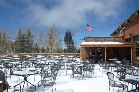 Snowy scene at Arizona Snowbowl on April 17, 2019.