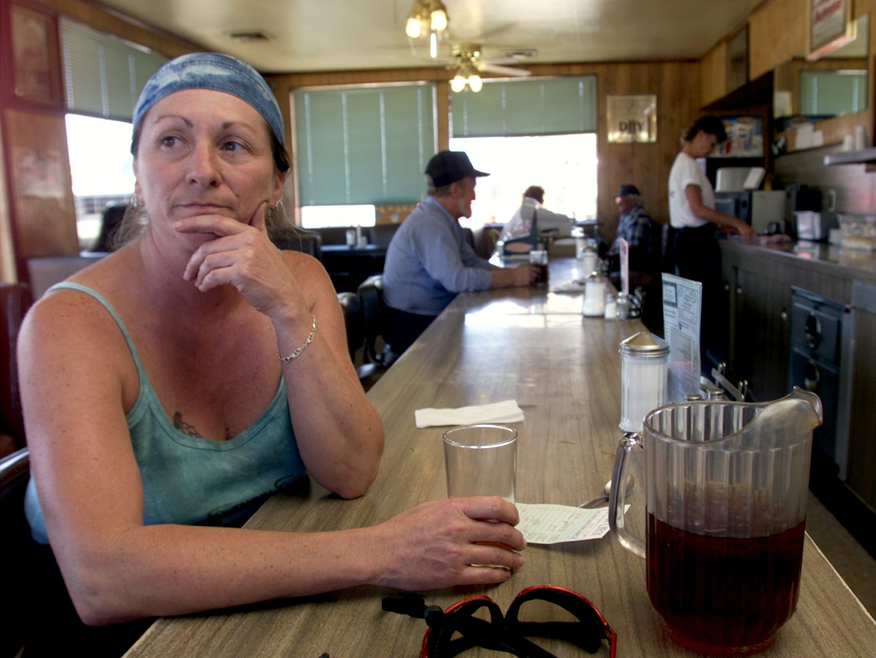 "Gina Tarter of Boyd, Minnesota, was moving to Kingman in 2001 after purchasing 60 acres just outside of town. She said Timothy McVeigh should have to spend to rest of his life in jail, instead of being put to death. 'He needs to realize what he did and think about it,"" she said.  She had breakfast in City Cafe, a diner where McVeigh reportedly ate often."
