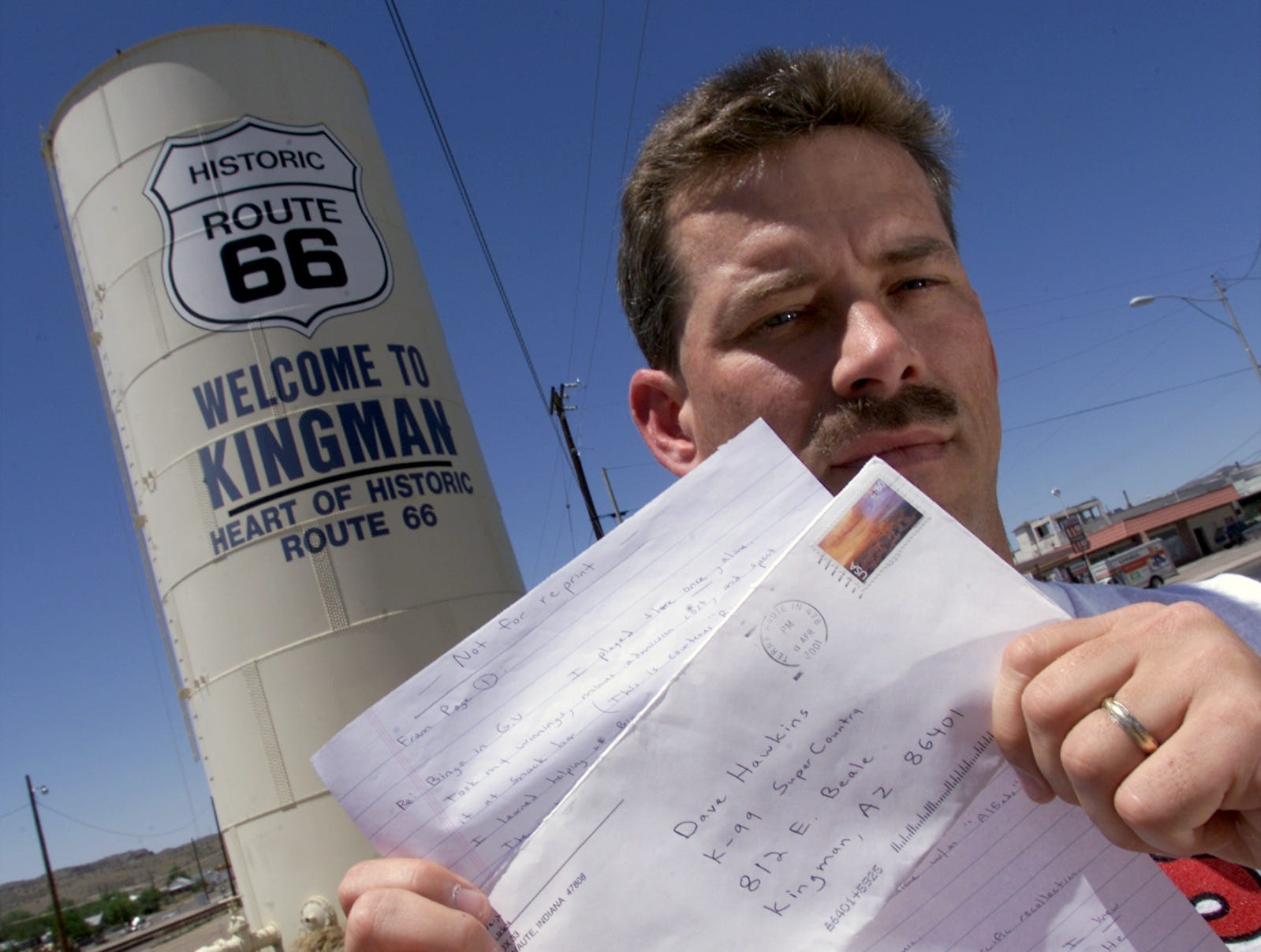 Dave Hawkins, news director for radio station KGMN FM , Kingman, in 2001 shows a letter from Timothy McVeigh, who was executed shortly after.