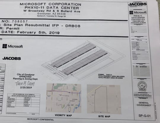 The site plan for Microsoft's project near the Phoenix Goodyear Airport shows plans for a massive data center.