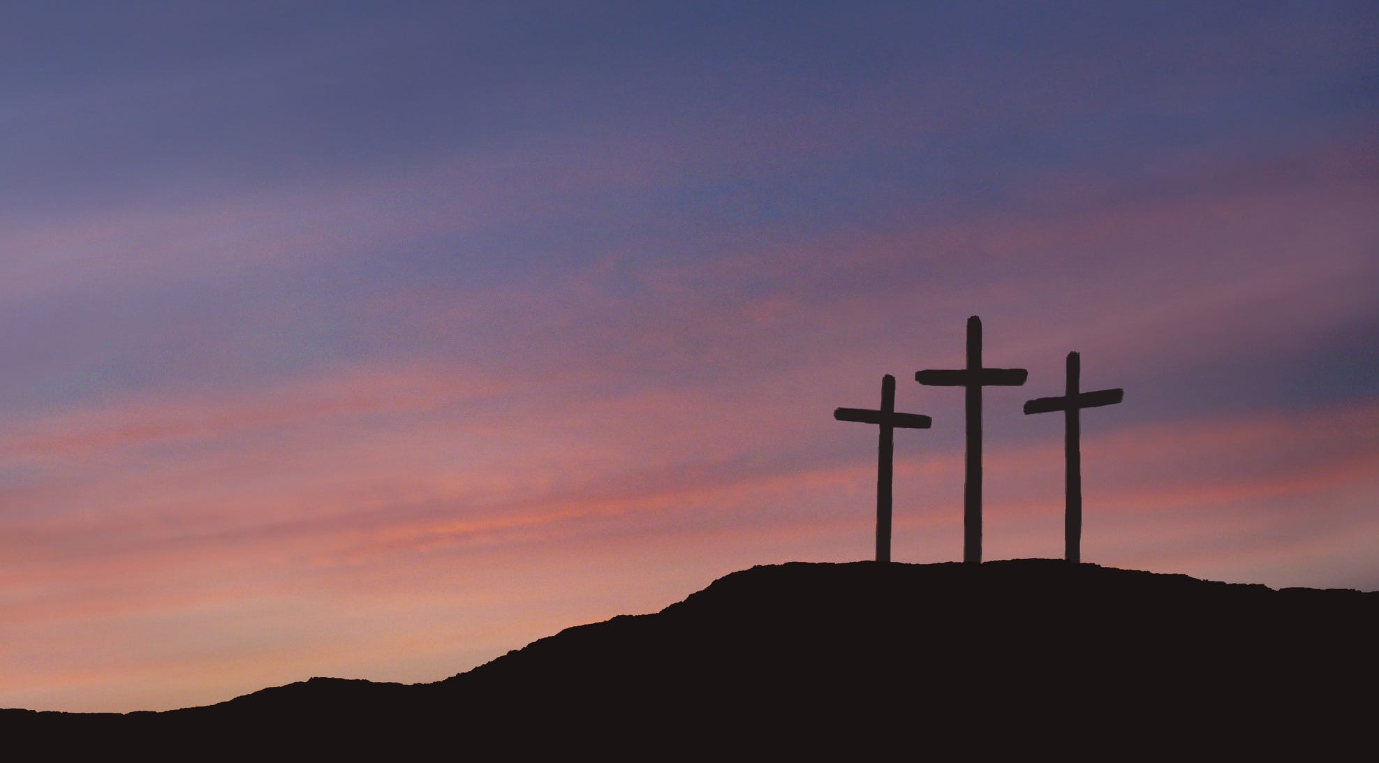 A depiction of the three crosses of Calvary for Good Friday.