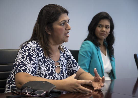 Betty Guardado (left) answers questions in the azcentral.com Editorial Board room on  April 18, 2019. Looking on is Phoenix councilwoman Vania Guerra.