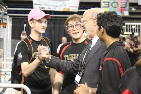 Pennsylvania Governor Tom Wolf visits the For Inspiration and Recognition of Science and Technology (FIRST) Mid-Atlantic District Championship, a regional robotics competition held at Lehigh University April 3-6.   TechFire Robotics of York (pictured) won first place, and will compete again in the Detroit, Michigan nationals April 24-27. (Photo by: Daphne Frownfelter)