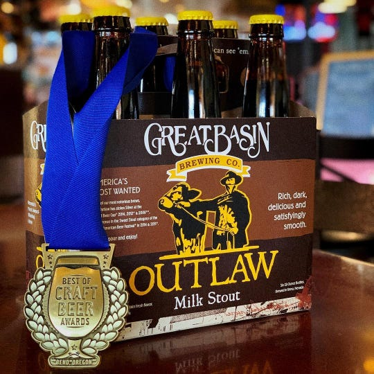Great Basin Brewing Co.'s Outlaw Milk Stout has won several awards, including medals from the World Beer Cup and the Best of Craft Beer Awards.
