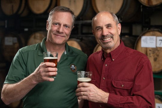 Sean Turner, left, and Tom Young take a moment at Great Basin Brewing Co. in Reno. Turner's Mammoth Brewing Co., a craft producer from Mammoth, Calif., is acquiring Young's Great Basin, a pioneer of Nevada's beer culture.