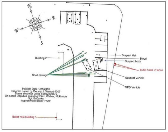 A screenshot of a diagram released in a report on the investigation of a fatal police shooting in January 2018. The diagram shows the location of the Sparks police patrol vehicle, the suspect's vehicle, and his body in the parking lot of an apartment complex in Sparks.